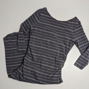 Athleta Striped Long Sleeve Dress Grey Pima Cotton Modal Blend Med